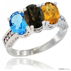 14K White Gold Natural Swiss Blue Topaz, Smoky Topaz & Whisky Quartz Ring 3-Stone 7x5 mm Oval Diamond Accent