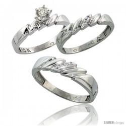 10k White Gold Diamond Trio Wedding Ring Set His 5mm & Hers 4mm