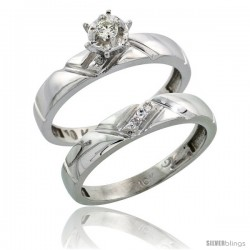 10k White Gold Ladies' 2-Piece Diamond Engagement Wedding Ring Set, 5/32 in wide -Style 10w112e2