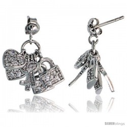 "Sterling Silver Jeweled Post Earrings, w/ Heart Key Padlock & Cubic Zirconia, 7/8"" (22 mm)"