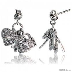 """Sterling Silver Jeweled Post Earrings, w/ Heart Key Padlock & Cubic Zirconia, 7/8"""" (22 mm)"""