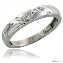 10k White Gold Ladies' Diamond Wedding Band, 5/32 in wide -Style 10w112lb