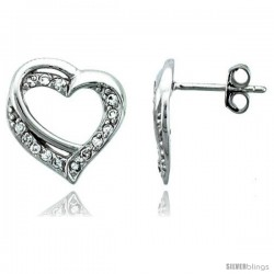 Sterling Silver Jeweled Heart Post Earrings, w/ Cubic Zirconia stones, 9/16 (15 mm)
