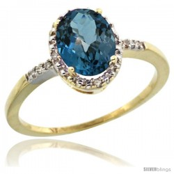 10k Yellow Gold Diamond London Blue Topaz Ring 1.17 ct Oval Stone 8x6 mm, 3/8 in wide