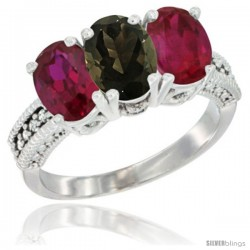 10K White Gold Natural Smoky Topaz & Ruby Sides Ring 3-Stone Oval 7x5 mm Diamond Accent