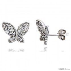 "Sterling Silver Jeweled Butterfly Post Earrings w/ Cubic Zirconia stones, 3/8"" (10 mm) -Style Te5742"