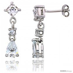 "Sterling Silver / CZ Dangle Post Earrings, w/ 3 stones, 15/16"" (24 mm)"