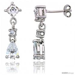 """Sterling Silver / CZ Dangle Post Earrings, w/ 3 stones, 15/16"""" (24 mm)"""