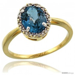 10k Yellow Gold Diamond Halo London Blue Topaz Ring 1.2 ct Oval Stone 8x6 mm, 1/2 in wide