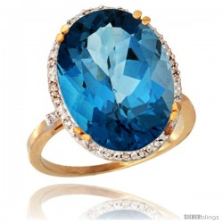 10k Yellow Gold Diamond Halo Large London Blue Topaz Ring 10.3 ct Oval Stone 18x13 mm, 3/4 in wide