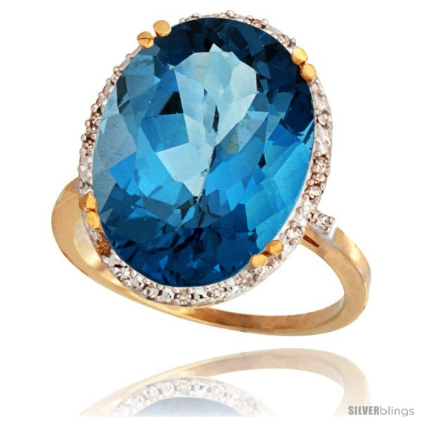 10k Yellow Gold Diamond Halo Large London Blue Topaz Ring
