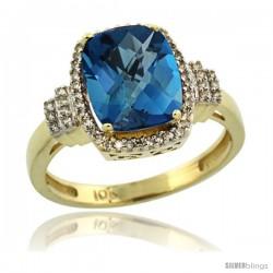 10k Yellow Gold Diamond Halo London Blue Topaz Ring 2.4 ct Cushion Cut 9x7 mm, 1/2 in wide