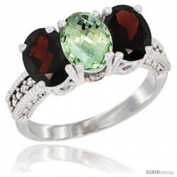 14K White Gold Natural Green Amethyst & Garnet Sides Ring 3-Stone 7x5 mm Oval Diamond Accent