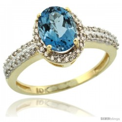 10k Yellow Gold Diamond Halo London Blue Topaz Ring 1.2 ct Oval Stone 8x6 mm, 3/8 in wide