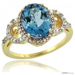 10k Yellow Gold Diamond Halo London Blue Topaz Ring 2.4 ct Oval Stone 10x8 mm, 1/2 in wide