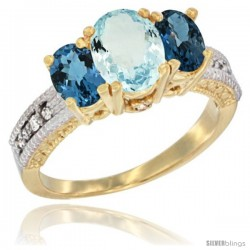 10K Yellow Gold Ladies Oval Natural Aquamarine 3-Stone Ring with London Blue Topaz Sides Diamond Accent