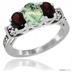 14K White Gold Natural Green Amethyst & Garnet Ring 3-Stone Oval with Diamond Accent