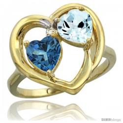 10k Yellow Gold 2-Stone Heart Ring 6mm Natural London Blue Topaz & Aquamarine