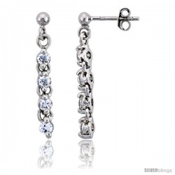 "Sterling Silver Jeweled Dangling Post Earrings, w/ Round Cubic Zirconia, 1 1/8"" (28 mm)"