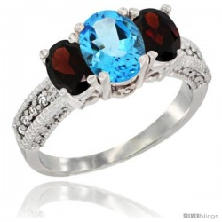 14k White Gold Ladies Oval Natural Swiss Blue Topaz 3-Stone Ring with Garnet Sides Diamond Accent