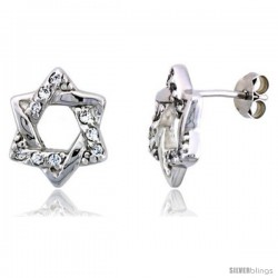 "Sterling Silver Jeweled Star-of-David Post Earrings, w/ Cubic Zirconia stones, 9/16"" (14 mm)"