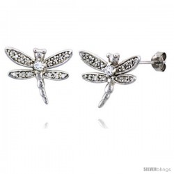 """Sterling Silver Jeweled Dragonfly Post Earrings, w/ Cubic Zirconia stones, 3/4"""" (19 mm)"""