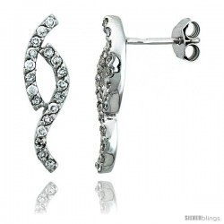 Sterling Silver Jeweled Twisted Post Earrings, w/ Cubic Zirconia stones, 13/16 (21 mm)