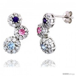 Sterling Silver Graduated Flower Earrings w/ Brilliant Cut Amethyst-colored, Pink Tourmaline-colored & Blue Topaz-colored CZ