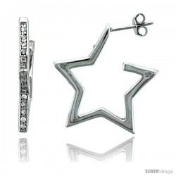 "Sterling Silver Jeweled Star Post Earrings, w/ Cubic Zirconia stones, 15/16"" (24 mm)"