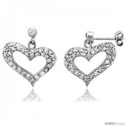"Sterling Silver Jeweled Heart Post Earrings, w/ Cubic Zirconia stones, 7/8"" (22 mm)"