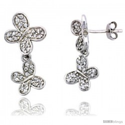 "Sterling Silver Jeweled Butterfly Post Earrings, w/ Cubic Zirconia stones, 15/16"" (24 mm)"
