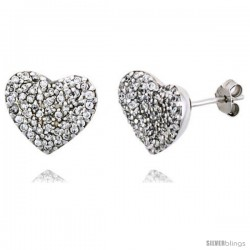 "Sterling Silver Heart Stud Earrings w/ Brilliant Cut CZ Stones, 1/2"" (13 mm) tall"