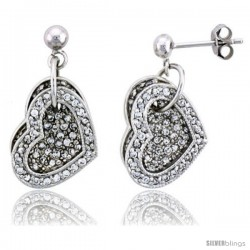 "Sterling Silver Jeweled Heart Post Earrings, w/ Cubic Zirconia stones, 11/16"" (17 mm)"
