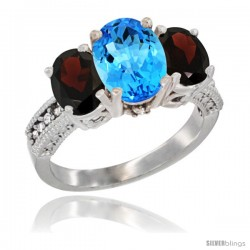 14K White Gold Ladies 3-Stone Oval Natural Swiss Blue Topaz Ring with Garnet Sides Diamond Accent