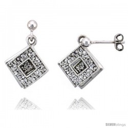 "Sterling Silver Jeweled Diamond-shaped Post Earrings, w/ Cubic Zirconia stones, 11/16"" (17 mm)"