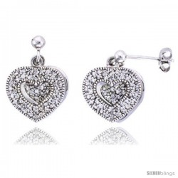 "Sterling Silver Jeweled Heart Post Earrings w/ Cubic Zirconia stones, 5/8"" (16 mm)"