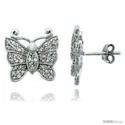 Sterling Silver Jeweled Butterfly Post Earrings, w/ Cubic Zirconia stones, 9/16 (15 mm)