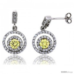"Sterling Silver Circle Dangle Earrings w/ Brilliant Cut Yellow Topaz-colored CZ Stones, 15/16"" (24 mm) tall"