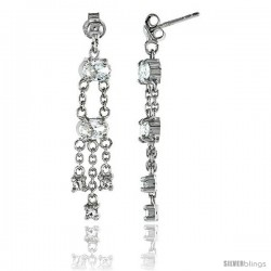 Sterling Silver Jeweled Post Earrings, w/ Oval & Round Cubic Zirconia, 1 5/16 (33 mm)