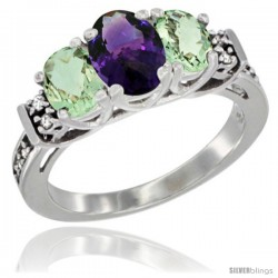 14K White Gold Natural Amethyst & Green Amethyst Ring 3-Stone Oval with Diamond Accent