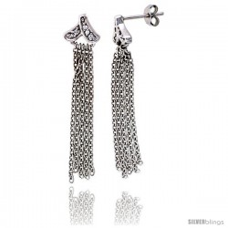 "Sterling Silver Jeweled Post Earrings, w/ Rolo Chain & Cubic Zirconia, 1 11/16"" (43 mm)"