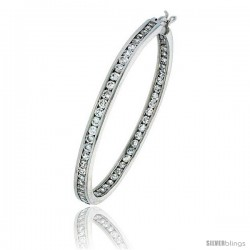 Sterling Silver Jeweled Hoop Post Earrings, w/ Cubic Zirconia stones, 1 3/4 (45 mm)