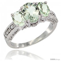 14k White Gold Ladies Oval Natural Green Amethyst 3-Stone Ring Diamond Accent