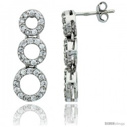 Sterling Silver Jeweled Graduated Circles Post Earrings, w/ Cubic Zirconia stones, 15/16 (24 mm)