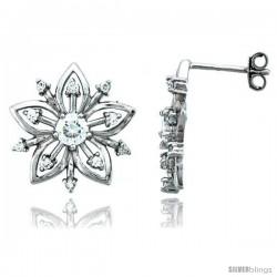 Sterling Silver Jeweled Flower Post Earrings, w/ Cubic Zirconia stones, 11/16 (18 mm)