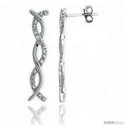 Sterling Silver Jeweled Post Earrings, w/ Cubic Zirconia stones, 1 3/16 (31 mm)