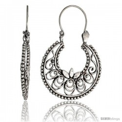"Sterling Silver Filigree Bali Earrings w/ Beads & Floral Design, 1 3/8"" (36 mm) tall"