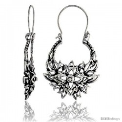 "Sterling Silver Filigree Bali Earrings w/ Beads & Floral Flames, 1 5/16"" (34 mm) tall"