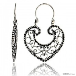 "Sterling Silver Filigree Heart Bali Earrings w/ Beads & Tribal Design, 1 3/8"" (35 mm) tall"