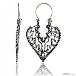 "Sterling Silver Filigree Heart Bali Earrings w/ Beads & Flames, 1 1/2"" (38 mm) tall"